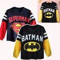 Crianças Camiseta de Algodão Camisetas de Manga Longa Para Meninos superman Batman Dos Desenhos Animados Impressão Meninos Tee Crianças Camiseta Encabeça Meninos Roupas