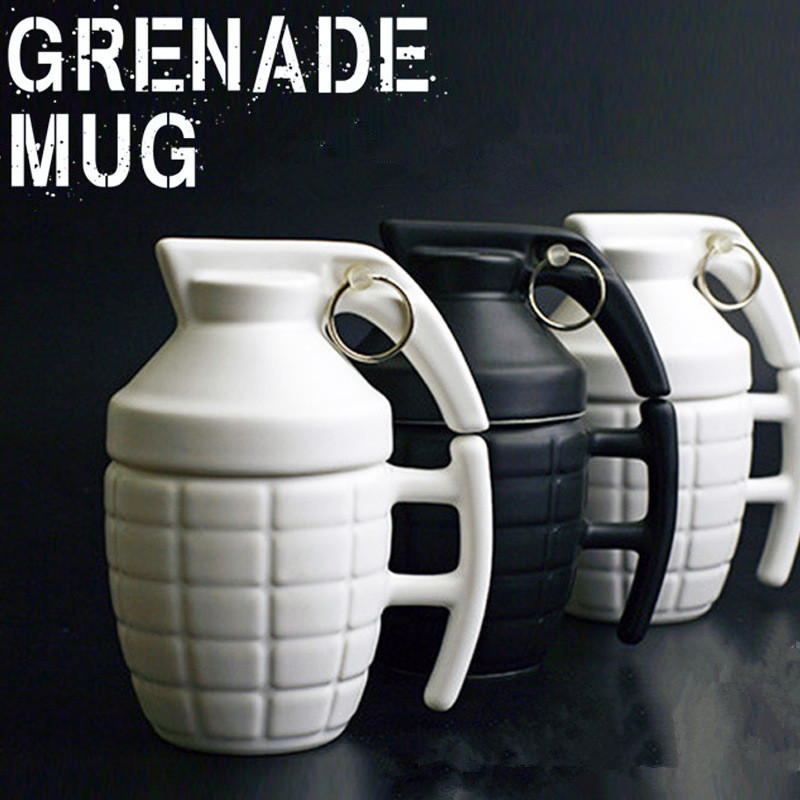 Hand Grenade Mug 280ml Creative Grenade Coffee Milk Mugs Practical Ceramic Water Cups with Lid Funny Gifts Granada Taza De Cafe