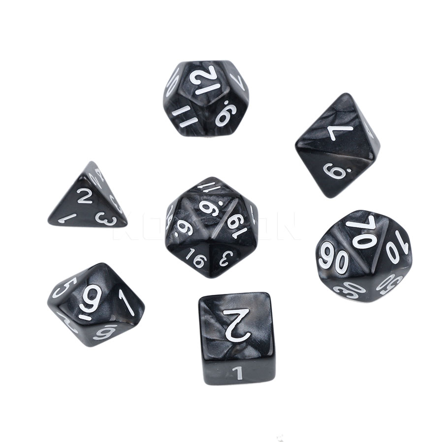 Multi Sided Dice Set With Marble Effect D4 D6 D8 D10 D10
