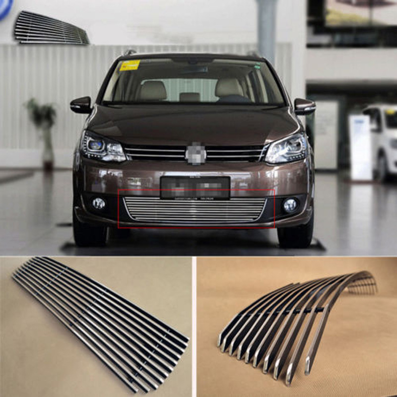 Alloy Aluminium Front Center Racing Mesh Bumper Grills Billet Grille Cover For VW Touran 2011-2013 1 pair gloss black m color front bumper center kidney grilles for bmw x3 f25 2011 2012 2013 2014 racing grills