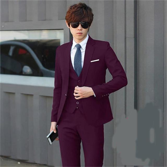 (Jacket + Pants + Vest) Los Hombres Trajes Slim Fit Plus Size S-3XL Mens Trajes de Boda Con pantalones Para Hombre de Negocios de Ropa Formal