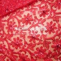 Red bride dress lace fabric cloth wholesale wedding dress fabric yarn Eugen yarn embroidery fabric
