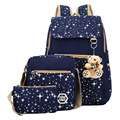 2016 New Women Backpack With Bear School Bags For Teenagers Girls Backpacks Star Printing Bookbag Back Pack 3Pcs Sets WQ201