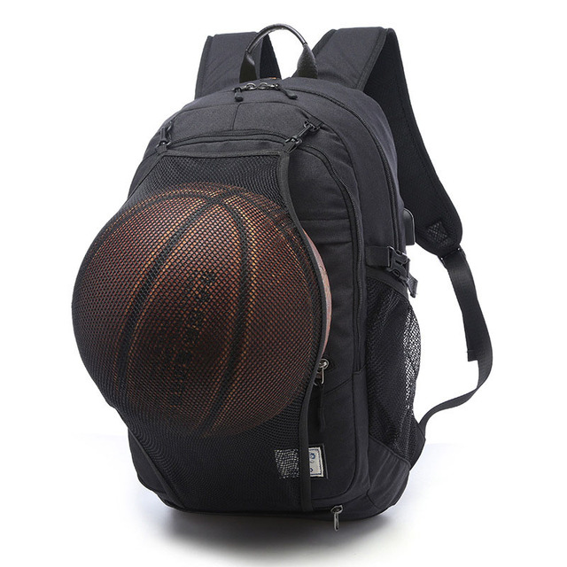 2a4a11d31907 Sports Black Gray Outdoor Fitness Training Bag Basketball Backpack Man  SportS Bag Gym Bag 15.6 Inch Laptop Port Male Bag 30