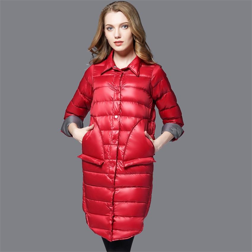 New Winter Big Size Women Midi Long   Down     Coat   Light   Down   Jacket Lady Slim White Duck   Down   Jacket Autumn Female Warm   Coats   WZ365