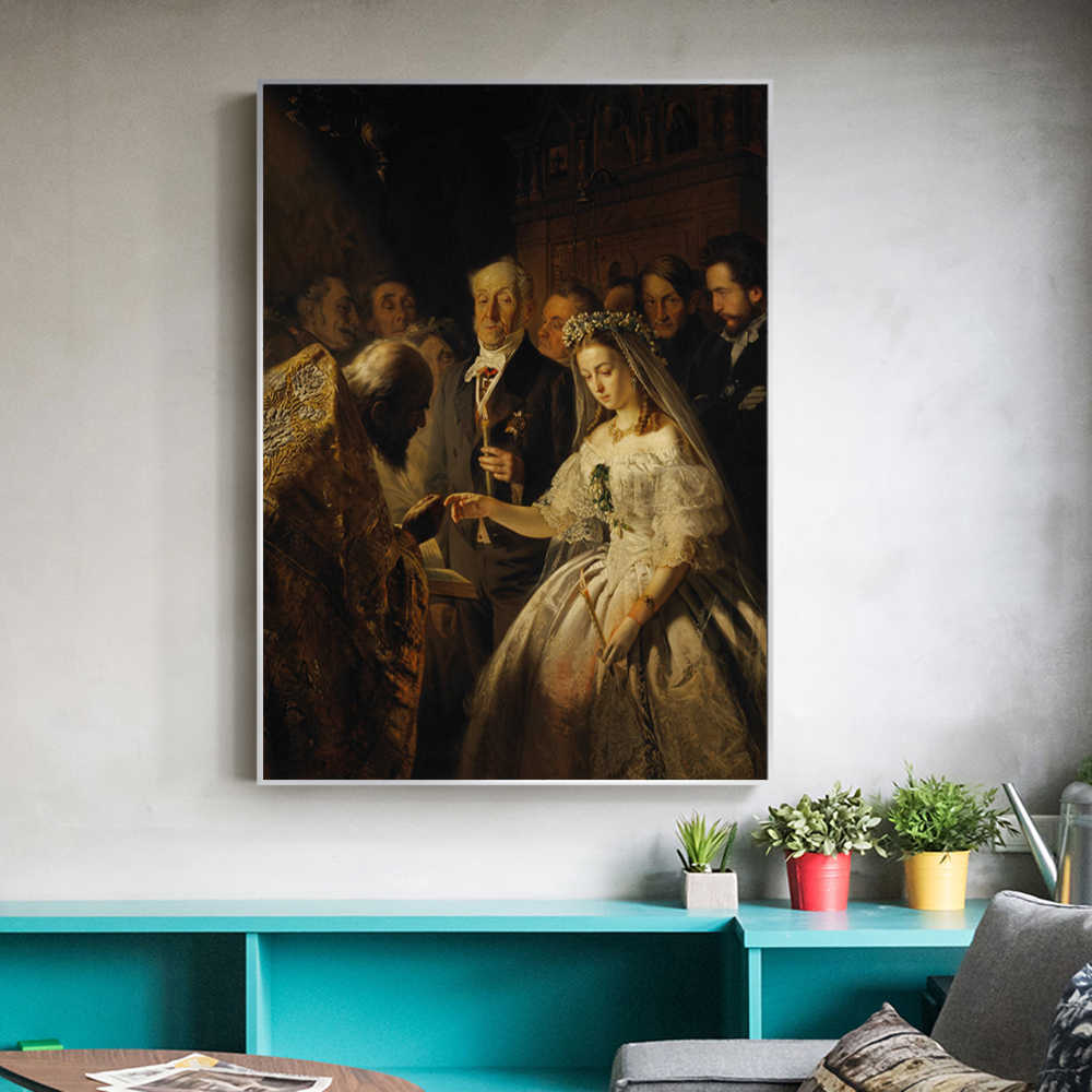 Russian Famous Paintings The Unequal Marriage by Vasily Pukirev Oil Painting Reproductions Print On Canvas Cuadros Decoration