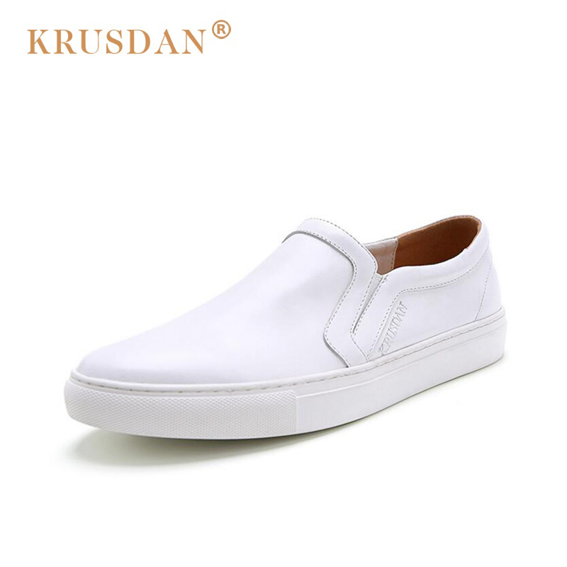 2018 [krusdan]2018 New Fashion Style Genuine Leather Men Casual Shoes Solid White Slip-on Retro High Quality Brand Flat For new 2017 mens white color genuine leather slip on flat casual shoes cool guys brand hip hop shoes size 38 44