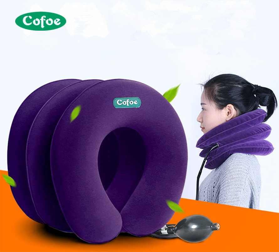 Neck Pillow Inflatable Air Cervical Neck Traction Neck Support Soft Brace Device Unit For Headache Head Back Shoulder Neck Pain