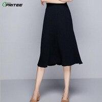 Spring Knitted Long Skirt Pleated Women's Skirt Elegant A line Office Lady Jupe Femme Pastel Saia Midi Striped Faldas Mujer