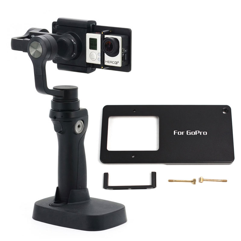 Aluminum Mount Adapter Assemble Gopro Mount Plate for DJI Osmo mobile /Zhiyun Smooth Q/C/3 gimbal Adapter for Gopro Hero 4 3+