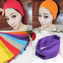 Fashion style lady cotton absorbing sweat Yoga headband candy color sport sweat hair band popular hair accessories for women