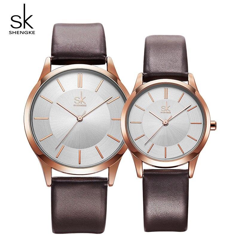 Shengke Fashion Leather Women Men Couple Watches Set Luxury Quartz Female Male Wrist Watch 2019 New Women's Day Gift K8037