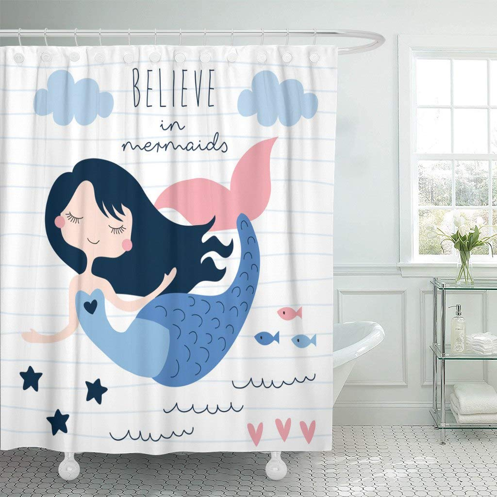 Fabric Shower Curtain With Hooks Blue Water Beautiful Mermaid Girl Colorful Beach Fin Silhouette Siren Beauty Character