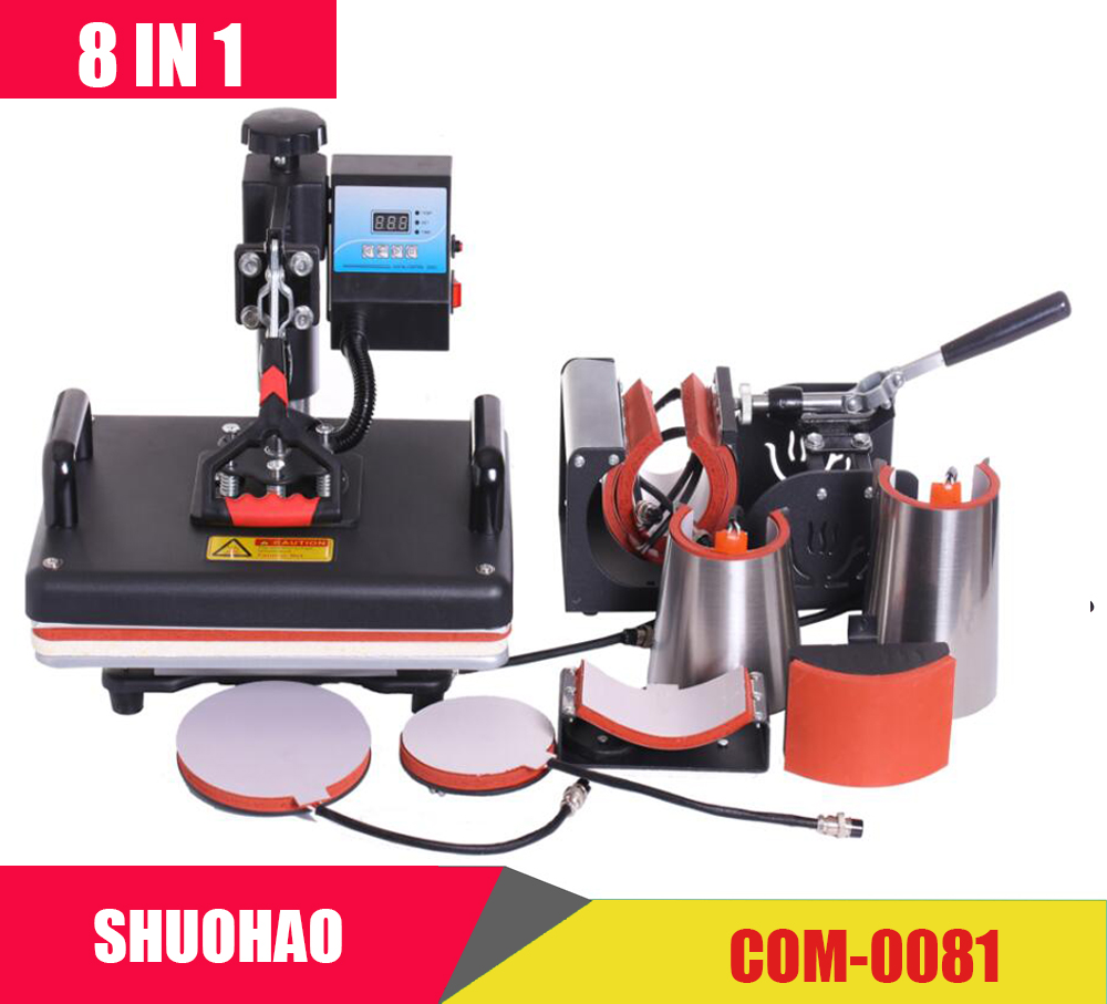 Cheap 30*38CM 8 In 1 Combo Heat Press Machine Sublimation Printer 2D Heat Transfer Machine For Cap Mug Plate Tshirts CE Approved(China)