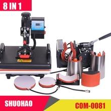 Дешевые 30*38 см 8 в 1 комбинированный термопресс машина сублимационный принтер 2D Теплопередача машина для крышки кружки пластины футболки CE утвержден