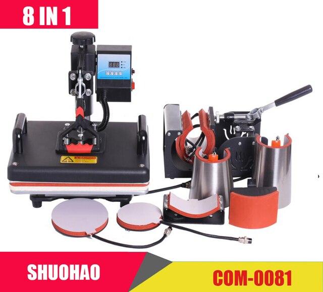 Barato 30*38 CM 8 en 1 Combo máquina de prensa de calor impresora de sublimación 2D máquina de transferencia de calor para tapa taza placa camisetas CE aprobado