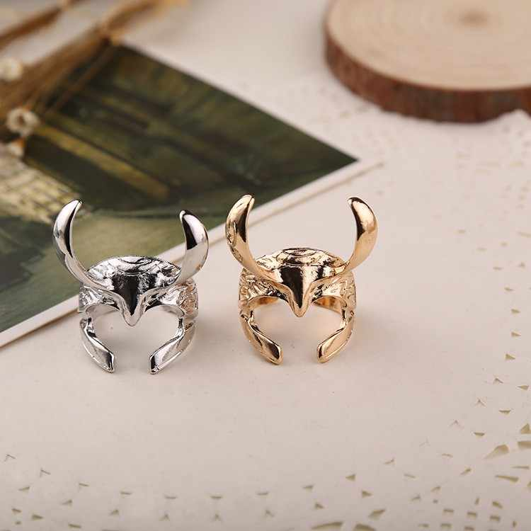 Adjustable  Cool Punk Thor ring The Dark World The Avengers Loki Helmet  Rings For Men&Women