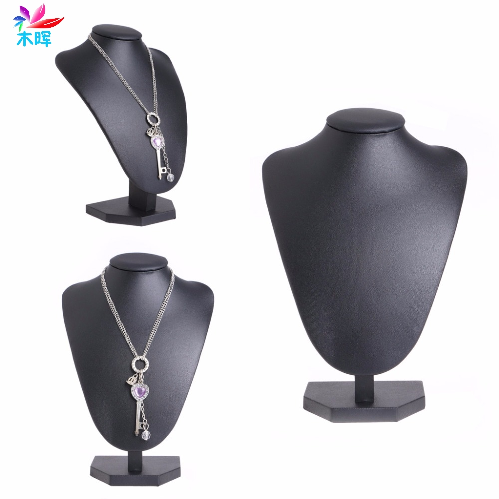 Leather Jewelry Necklace Pendant Neck Model Props Display Stand Holder 22 15cm