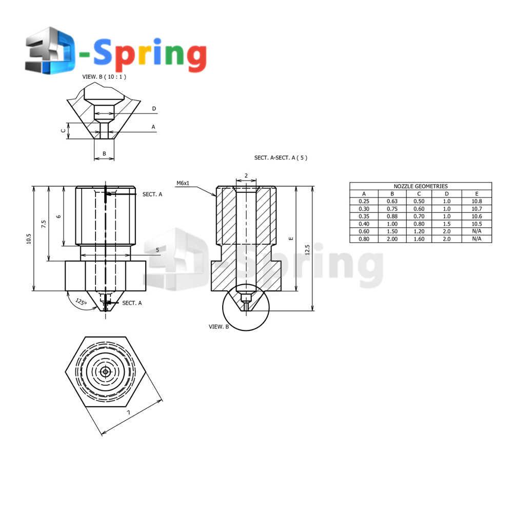 V5 V6 Vòi Phun Đồng (KHÔNG Đồng Thau) 0.2-1.0mm Đường Kính 3 4mm M6 Cho E3D J-Đầu Đùn Hotend 1.75mm 3.0mm 3D Máy In