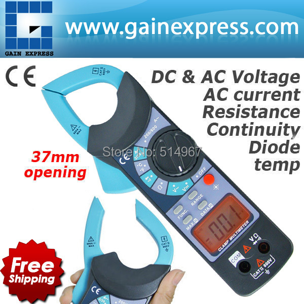 Digital Clamp Meter DC AC Voltage AC Current Resistance Diode Audible Continuity Temperature w/ 1999 Reading + 37mm Jaw Opening  de 3100r pocket size ac digital clamp meter