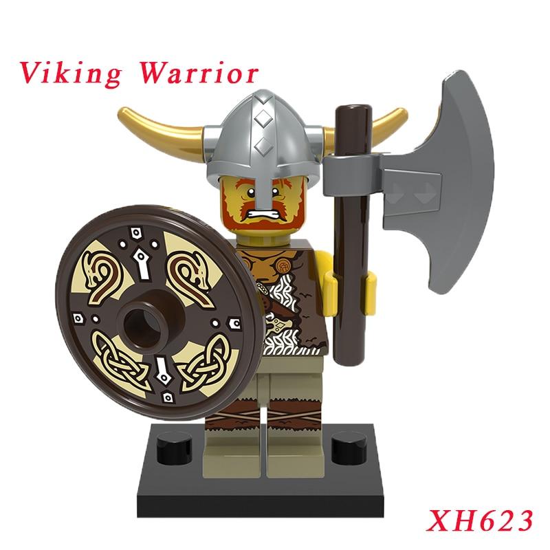 Viking Warrior Diy Bricks Single Sale Medieval Egyptian Super Heroes Mini Building Blocks Education Toys For Children