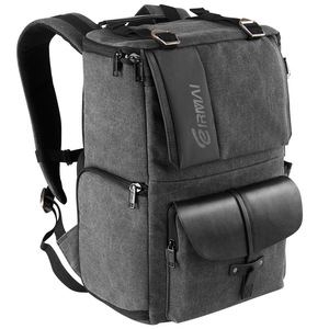 Image 3 - Eirmai Grey Canvas Large Capacity Camera Video Shoulders Backpack Waterproof w Rain Cover fit 15inch Laptop for DSLR Photo Drone