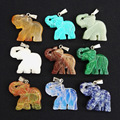 Wholesale mixed Carved natural stone elephant Pendants semi-precious stone for jewelry making 8pcs/lot free shipping