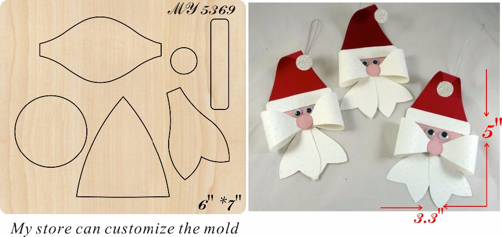 Santa Claus bow new wooden mould cutting dies for scrapbooking Thickness 15 8mm