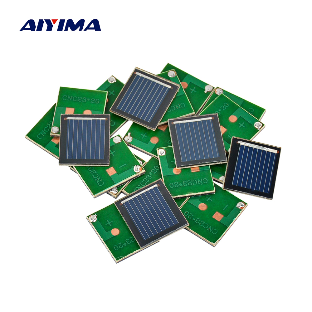цены Aiyima 20Pcs Solar Panel China Painel Solar Polycrystalline Silicon Solar Cell DIY Technology Mini Material 0.5V 80MA
