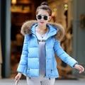 Capa de la chaqueta Las Mujeres de Algodón de Down Parkas Con Capucha Cuello de Piel de Lujo Grande gruesa Capa Outwear 8 Colores 2015 Nuevo Invierno Plus M-3XL