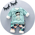 2016 Winter baby clothing boy with little man print fashion style high quality newborn clothes A022