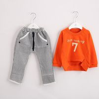 2015 Baby Clothing Set Spring New Children Suit The Number 7 Baby Personalized Logo Sportswear Free