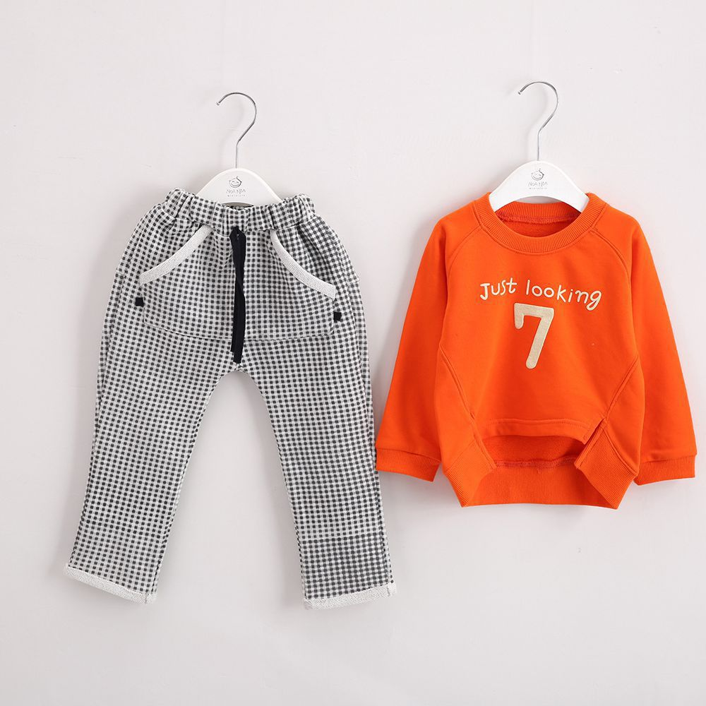 Anlencool New baby clothing set spring new children suit the number 7 Baby personalized logo sportswear free shipping