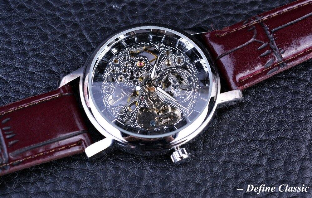 Mechanische Uhren 2019 Mode Luxury Brand Gewinner Dünne Große Case Hohl Skelett Carving Vorwahlknopf Hand Wind Mechanische Lederband Neue Mode Für Männer Uhren