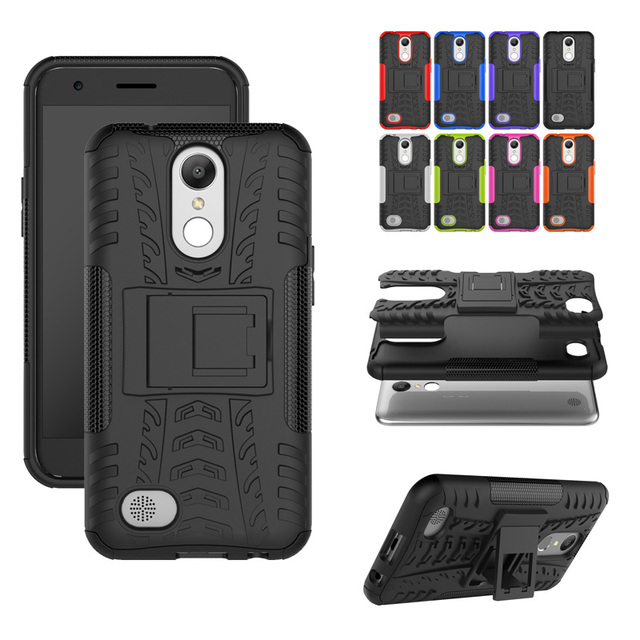 size 40 19dc3 a027e Armor Heavy Duty Hybrid Shockproof Dual Layer Protective Case Cover Stand  for LG K20 Plus/LG K10 2017/LG Harmony/LG Grace-in Fitted Cases from ...