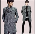 Autumn and winter Long sweater personality oblique zipper cardigan sweater Men Slim large lapel sweater cost plus size clothing