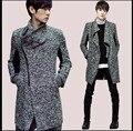 Otoño e invierno suéter Largo personalidad oblicua cremallera suéter cardigan Hombres suéter Delgado solapa grande costo ropa de talla grande