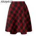Neophil 2016 Winter High Waist Wool Plain Grey Red Plaid School Pleated Midi Skirts Womens England Style Flare Tutu Saia S08018