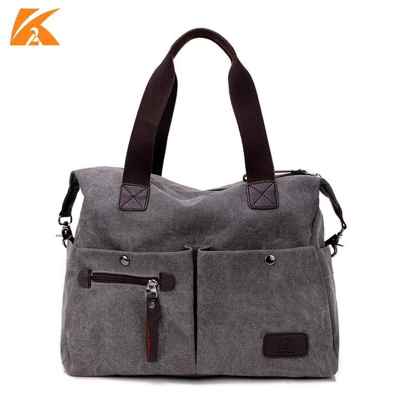 KVKY New Arrive Women Messenger Bag Vintage Canvas Handbags Ladies Travel Bag Female Crossbody Shoulder Bag Big Casual Tote