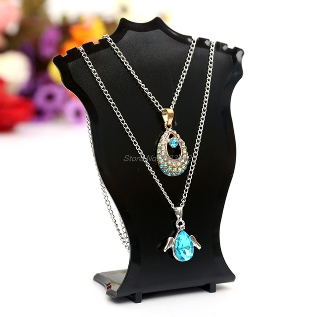 Pendant Necklace Chain Earring Jewelry Bust Display Holder Stand Showcase Rack-W128