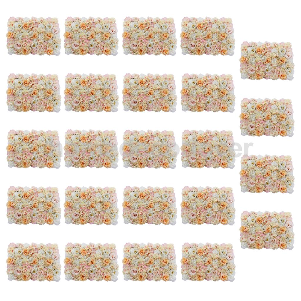 24 Pieces Artificial Flower Wall Panel Wedding Venue Background Decor Champagne