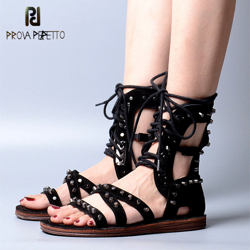 Prova Perfetto 2018 Summer Euramerican Style Flat Sandals Cow Suede Leather with Rivet Cross-tied Shoes Hollow out Rome Sandals fashionable women s sandals with platform and hollow out design