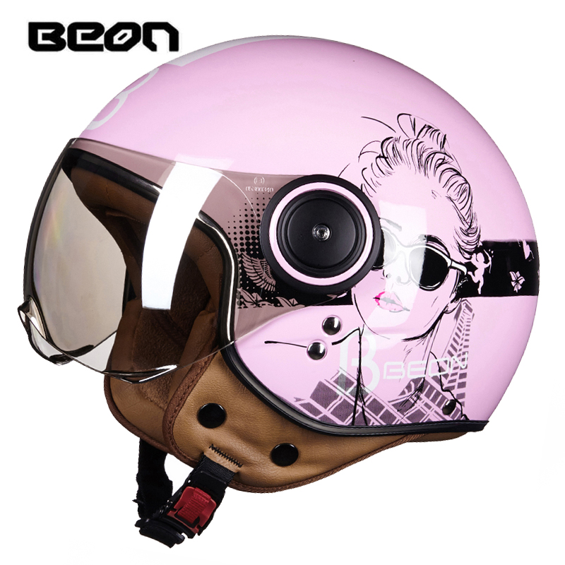 New arrival BEON motorcycle helmet Women's Vintage scooter open face helmet Retro E-bike 3/4 helmet ECE approved moto casco цена