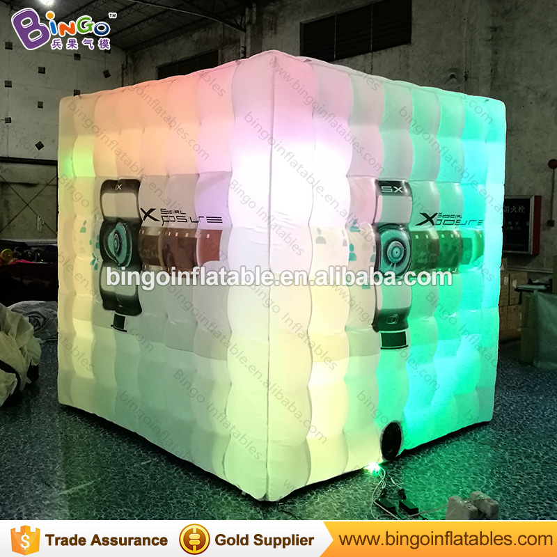 Free delivery 2.4X2.4X2.4 M LED lighting inflatable igloo with digital printing logo for advertising photo booth toy tent kiosk inflatable cube advertising helium balloon with 4 sides printing with blower