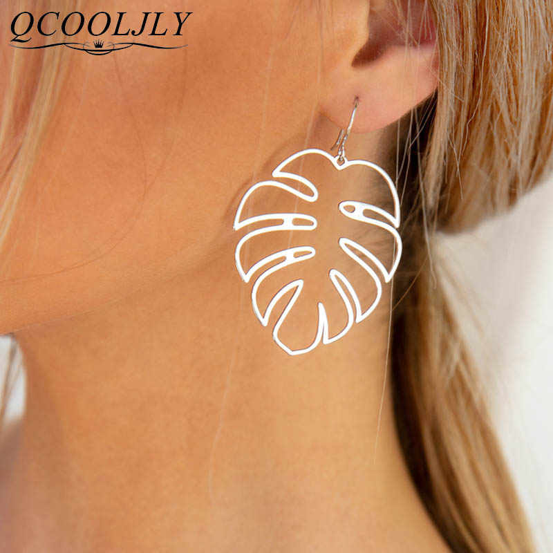 12 Colors Creative Bohemian Hollow Monstera Leaf Dangle Drop Earrings For Women Jewelry Accessories Holiday Party Gift Oorbellen
