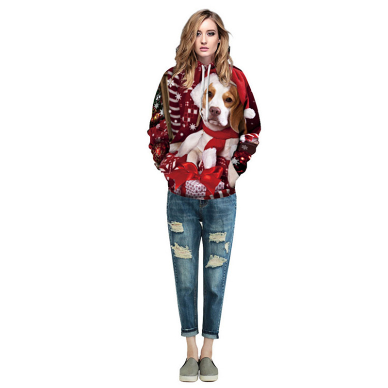 Zogaa 2019  Men and Women Cute Casual Relaxing Christmas Series Pulse Enthusiasts Print Hooded Sweatshirt Couple Jumpsuit