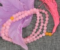 ナチュラル6ミリメートル天然石仏教ピンククォーツ108数珠マラブレスレットネックレスa