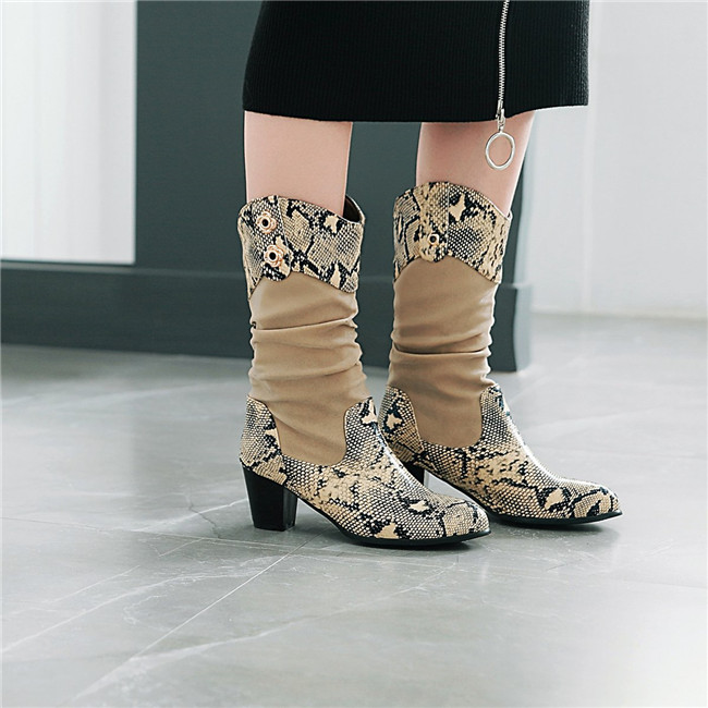 aaf46ec8839 YMECHIC Europe Gray Snakeskin Design Mid Calf Block Chunky High Heels  Womens Western Boots Winter Shoes 2018 Gothic Ladies Shoes