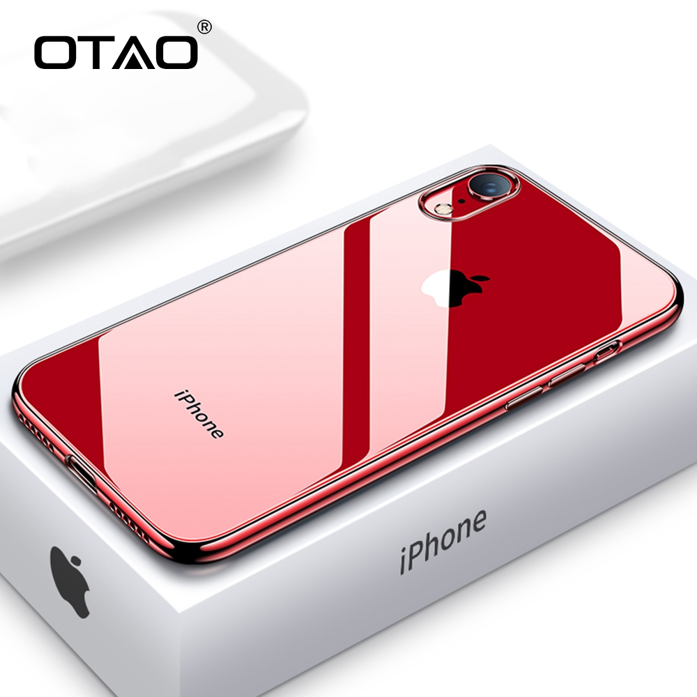 OTAO Ultra Thin Transparent Phone Case For iPhone XS MAX XR X 8 7 6 6s Plus Plating Soft TPU Silicone Full Cover Shockproof Caqa(China)