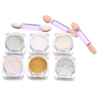 New 6 Colors Shinning Mirror Nail Art Glitter Powder DIY Dust Sequins With 3 Brushes